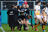 Zach Mercer of Bath Rugby celebrates his first half try with team-mates. Heineken Champions Cup match, between Bath Rugby and Wasps on January 12, 2019 at the Recreation Ground in Bath, England. Photo by: Patrick Khachfe / Onside Images