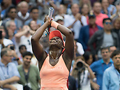 9th September 2017, FLushing Meadows, New York, USA;  Sloan Stephens (USA) raises her arms in celebration after winning the US Open Women's Singles title  at the USTA Billie Jean King National Tennis Center in Flushing Meadow, NY.