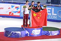 """SHORT TRACK: MOSCOW: Speed Skating Centre """"Krylatskoe"""", 14-03-2015, ISU World Short Track Speed Skating Championships 2015, Podium Men 500m, Shaolin Sandor LIU (HUN), Dajing WU (CHN), Tianyu HAN (CHN), ©photo Martin de Jong"""