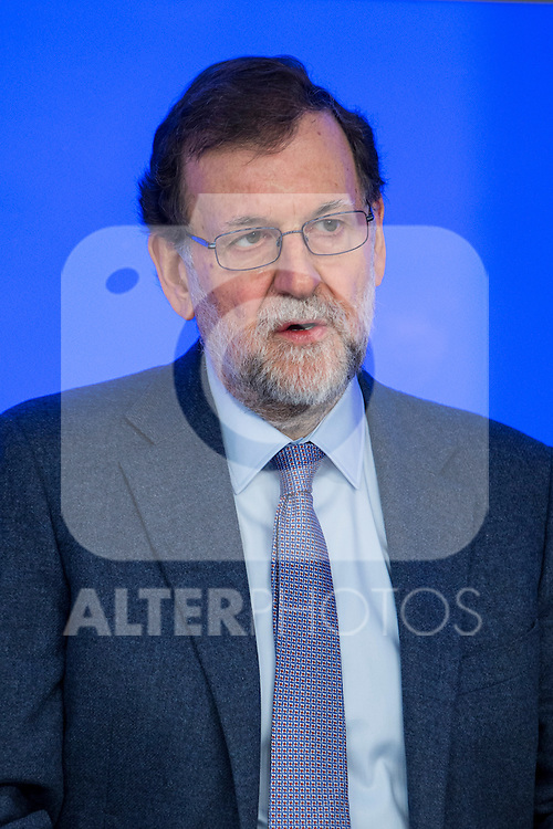 Spain's Prime Minister, Mariano Rajoy presides the Popular Party's national executive committee in Madrid, Spain. January  14, 2017. (ALTERPHOTOS/Rodrigo Jimenez)