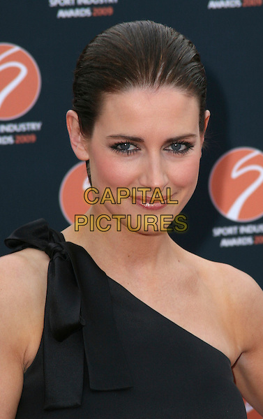 KIRSTY GALLACHER .Sports Industry Awards at Battersea Evolution, London, England, UK,.April 30th 2009.portrait headshot black one shoulder bow ponytail hair up .CAP/JIL.©Jill Mayhew/Capital Pictures