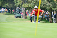 Jon Rahm (ESP) lines up a putt on 2 during round 4 of the World Golf Championships, Mexico, Club De Golf Chapultepec, Mexico City, Mexico. 3/5/2017.<br /> Picture: Golffile | Ken Murray<br /> <br /> <br /> All photo usage must carry mandatory copyright credit (&copy; Golffile | Ken Murray)