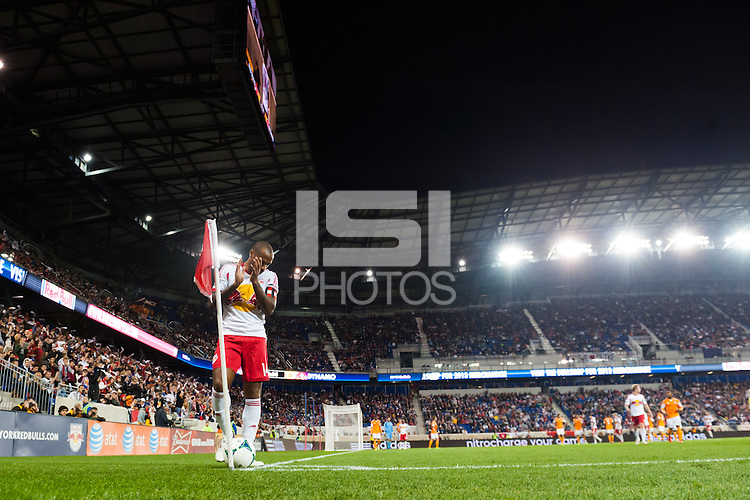 Thierry Henry (14) of the New York Red Bulls prepares to take a carnet kick. The Houston Dynamo defeated the New York Red Bulls 2-1 (4-3 on aggregate) in overtime of the second leg of the Major League Soccer (MLS) Eastern Conference Semifinals at Red Bull Arena in Harrison, NJ, on November 6, 2013.