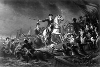 Washington's Retreat at Long Island.  August 1776.  Copy of engraving by J. C. Armytage after Wageman, published ca.  1860 (George Washington Bicentennial Commission)<br />Exact Date Shot Unknown<br />NARA FILE #:  148-GW-174<br />WAR & CONFLICT #:  28