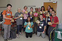 OrigamiUSA 2016 Convention at St. John's University, Queens, New York, USA. Creasers in Sunil Dhavalikar's Dahlia class.
