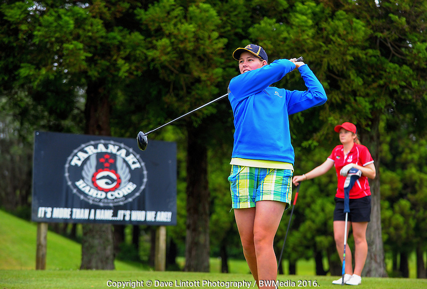 Alannah Campbell (BoP) v Amelia Garvey (Canterbury) at the 8th tee. 2016 Toro Women's Interprovincial Golf Championship at Westown Golf Club in New Plymouth, New Zealand on Saturday, 10 December 2016. Photo: Dave Lintott / lintottphoto.co.nz