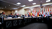 United States President Barack Obama (C) speaks after attending a meeting hosted by Joint Chiefs of Staff General Martin E. Dempsey  (R) with the military leadership from 21 coalition partner nations to discuss the coalition efforts in the ongoing campaign against ISIL on October 14, 2014 at Joint Base Andrews in Maryland.  Air Marshal Binskin from Australia (3L), General Yousif from Bahrain, General Gerard Van Caelenberge from Belgium, General Lawson from Canada (2L),  Lieutenant General Ludvigsen from Denmark, Lieutenant General Hegazy from Egypt, General de Villiers from France (L), Lieutenant General Schelzig from Germany,  General Babakir from Iraq, Admiral Binelli-Mantelli from Italy, General Al-Zaben from Jordan, Lieutenant General Al-Khadher from Kuwait, Lieutenant General Jean Kahwagi from Lebanon, General Middendorp from Netherlands, Lieutenant General Keating from New Zealand,  General Ghanim from Qatar, General Al-Banyan from Saudi Arabia, Admiral GarcÌa from Sapin, Lieutenant General ?zt¸rk from Turkey, Major General Al Mazrouei from United Arab Emirates, General Sir Nicholas Houghton from United Kingdom and US National Security Advisor Susan Rice (3R),  US Homeland Security Advisor Lisa Monaco (4L) and U.S. Central Command General Lloyd Austin III also attended.  (Aude Guerrucci/Pool)<br /> Credit: Aude Guerrucci / Pool via CNP