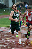 Junior Kyle Wood endures the rain drops Friday, May 29 and helps Perryville qualify for the 4x400 relay finals where they finished in eighth in Class 4 Saturday.