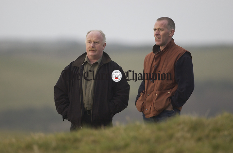 Paddy Doherty and Jim Shannon, co-organisers of the proposed Lisdoonvarna Folk Festival take a walk in the concert field. Photograph by John Kelly.