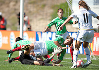 Mexico's goalkeeper Pamela Tajonar, right, and Alina Garciamendez stop a shot by Luaren Cheney. USA 3-0 over Mexico in San Diego, California, Sunday, March 28, 2010.