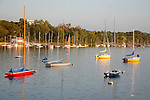 colorful boats moored on lake Calhoun in summer in Minneapolis Minnesota