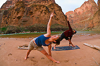 Doing yoga, Camping at Fern Glen Canyon, Whitewater rafting trip (oar trip) on the Colorado River in Grand Canyon, Grand Canyon National Park, Arizona USA
