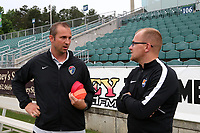 Cary, North Carolina  - Wednesday May 24, 2017: Scott Vallow and Paul Greig prior to a regular season National Women's Soccer League (NWSL) match between the North Carolina Courage and the Sky Blue FC at Sahlen's Stadium at WakeMed Soccer Park. The Courage won the game 2-0.