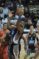 Dustin Scott takes a rebound during the national basketball league semifinal between Bay Hawks and Southland Sharks at TSB Bank Arena, Wellington, New Zealand on Friday, 4 July 2014. Photo: Dave Lintott / lintottphoto.co.nz