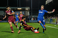 Anthony O'Connor (Left) of Bradford City, Kelvin Mellor of Bradford City and Mitchell Pinnock of AFC Wimbledon during AFC Wimbledon vs Bradford City, Sky Bet EFL League 1 Football at the Cherry Red Records Stadium on 2nd October 2018