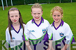 GAA supporters and future players learned their skills at the Currow GAA Cu?l Camp last week. .L-R Marcella Cahill, Ca?it O'Mahony and Sarah Mahony.