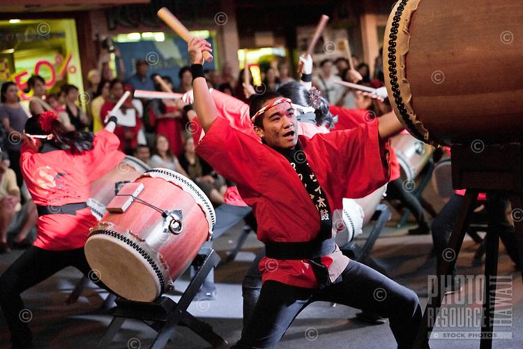 Taiko drummers performing at First Friday Street Festival, Wailuku, Maui
