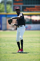 Visalia Rawhide center fielder Marcus Wilson (12) warms up before a California League game against the Stockton Ports at Visalia Recreation Ballpark on May 9, 2018 in Visalia, California. Stockton defeated Visalia 4-2. (Zachary Lucy/Four Seam Images)