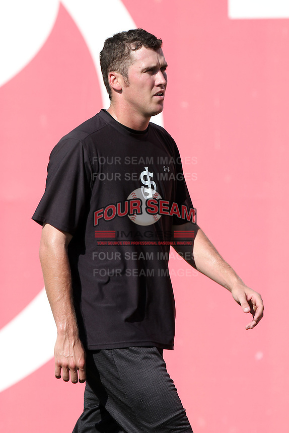 San Jose Giants pitcher Michael Main #49 before a game against the Inland Empire 66'ers at Arrowhead Credit Union Park on August 1, 2011 in San Bernardino,California. San Jose defeated Inland Empire 2-1.(Larry Goren/Four Seam Images)