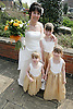 Bride with her three bridesmaids at a registry office wedding,
