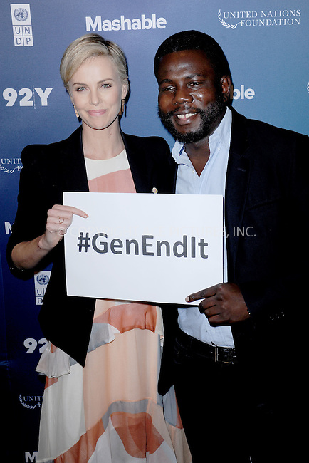 WWW.ACEPIXS.COM<br /> September 28, 2015 New York City<br /> <br /> Charlize Theron and Kweku Mandela attending the 2015 Social Good Summit at 92Y on September 28, 2015 in New York City.<br /> <br /> Credit: Kristin Callahan/ACE Pictures<br /> <br /> Tel: (646) 769 0430<br /> e-mail: info@acepixs.com<br /> web: http://www.acepixs.com