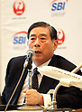 "October 3, 2017, Tokyo, Japan - SBI Holdings president Yoshitaka Kitao announces SBI Holdings and Japan Airlies form a joint venture ""JAL SBI Fintech"" at JAL headquarters in Tokyo on Tuesday, October 3, 2017.  JAL SBI Fintech will launch the business of multi-currency prrpaid card next year.   (Photo by Yoshio Tsunoda/AFLO) LWX -ytd-"