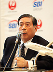 """October 3, 2017, Tokyo, Japan - SBI Holdings president Yoshitaka Kitao announces SBI Holdings and Japan Airlies form a joint venture """"JAL SBI Fintech"""" at JAL headquarters in Tokyo on Tuesday, October 3, 2017.  JAL SBI Fintech will launch the business of multi-currency prrpaid card next year.   (Photo by Yoshio Tsunoda/AFLO) LWX -ytd-"""