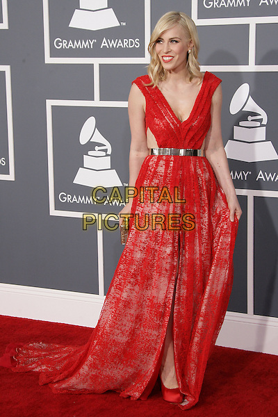 Natasha Bedingfield.The 55th Annual GRAMMY Awards held at STAPLES Center Los Angeles, California, USA..February 11th, 2013.grammys full length red dress lace sleeveless silver belt holding skirt.CAP/ADM.©AdMedia/Capital Pictures.