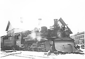 3/4 view of K-28 #470 with plow at Durango station.<br /> D&amp;RGW  Durango, CO  Taken by Hanft, Robert M. - 1/28/1939