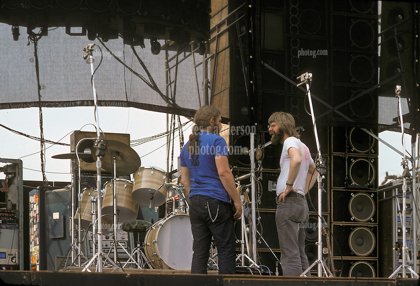 Phil Lesh with unidentified roadie before the Grateful Dead perform Live at Dillon Stadium, Hartford, CT 31 July 1974 featuring the Wall of Sound.
