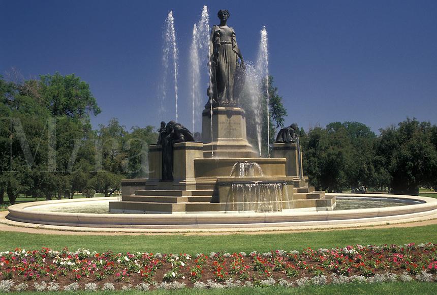 Denver, CO, Colorado, Statue and fountain at City Park in Denver.
