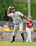 4 July 2012: Hudson Valley Renegades infielder Leonardo Reginatto in action against the Vermont Lake Monsters at Centennial Field in Burlington, Vermont. The Lake Monsters edged out the Renegades the Cyclones 2-1 in NY Penn League action. Mandatory Credit: Ed Wolfstein Photo