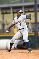 Charleston RiverDogs starting pitcher Luis Severino (6) in action against the Hickory Crawdads at L.P. Frans Stadium on May 25, 2014 in Hickory, North Carolina.  The RiverDogs defeated the Crawdads 17-10.  (Brian Westerholt/Four Seam Images)