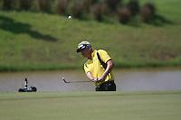 Daniel Chopra (SWE) chips onto the par3 12th green during Sundays Final Round 3 of the 54 hole Iskandar Johor Open 2011 at the Horizon Hills Golf Resort Johor, Malaysia, 19th November 2011 (Photo Eoin Clarke/www.golffile.ie)