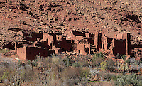 Ruined village between Ksar Ait Ben Haddou and Telouet, Ounila Valley, Ouarzazate province, Morocco. This area was on a caravan route from the Sahara to Marrakech. Picture by Manuel Cohen