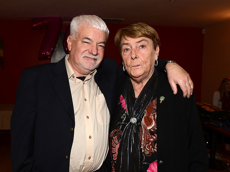 Pat Donaghy celebrating her 70th birthday in Tommy Hanratty's with her brother Brendan Caffrey. Photo:Colin Bell/pressphotos.ie