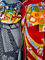 Decorative Kimono`s are usually worn on special occasions like these on Coming of Age day in January. These two are viewed from the back.