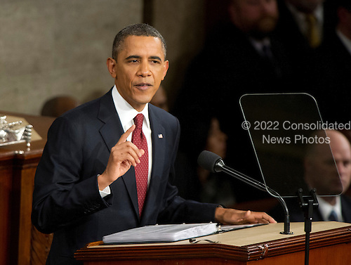 United States President Barack Obama delivers his State of the Union Address to a Joint Session of Congress in the U.S. Capitol in Washington, D.C., Tuesday, January 24, 2012..Credit: Ron Sachs / CNP
