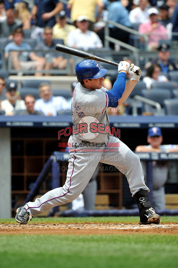Texas Rangers catcher  Taylor Teagarden #2 during a game against the New York Yankees at Yankee Stadium on June 16, 2011 in Bronx, NY.  Yankees defeated Rangers 3-2.  Tomasso DeRosa/Four Seam Images