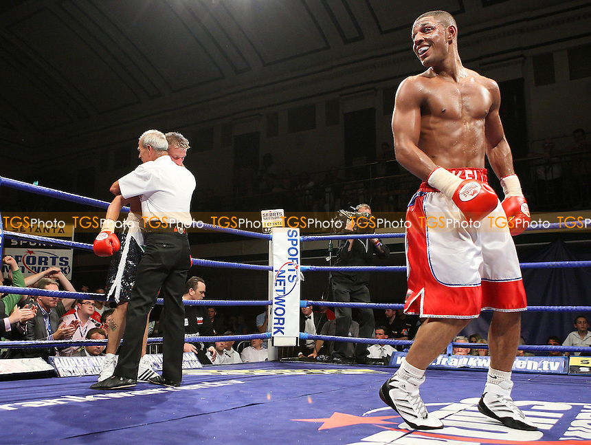 Kell Brook (Sheffield, red/white) shorts defeats Barrie Jones (Rhondda, black shorts) in a Welterweight contest for the British Title at York Hall, Bethnal Green, promoted by Frank Warren, Sports Network - 14/06/08 - MANDATORY CREDIT: Gavin Ellis/TGSPHOTO. Self-Billing applies where appropriate. NO UNPAID USE. Tel: 0845 094 6026