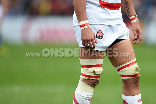 A general view of the Japan Rugby Union emblem. Rugby World Cup Pool B match between Scotland and Japan on September 23, 2015 at Kingsholm Stadium in Gloucester, England. Photo by: Patrick Khachfe / Onside Images