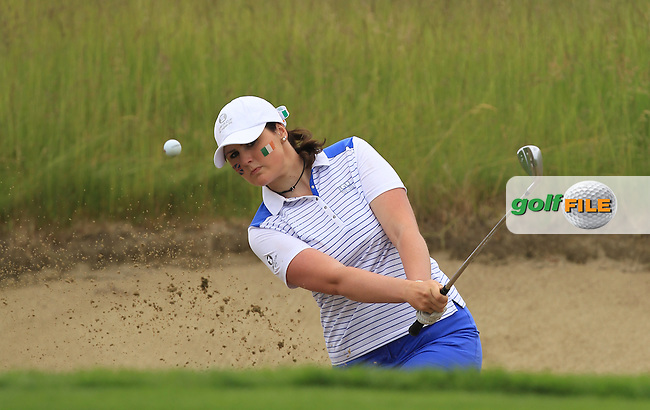 Olivia Mehaffey plays out of a bunker on the 13th during the Friday morning Foursomes of the 2016 Curtis Cup at Dun Laoghaire Golf Club on Friday 10th June 2016.<br /> Picture:  Golffile | Thos Caffrey