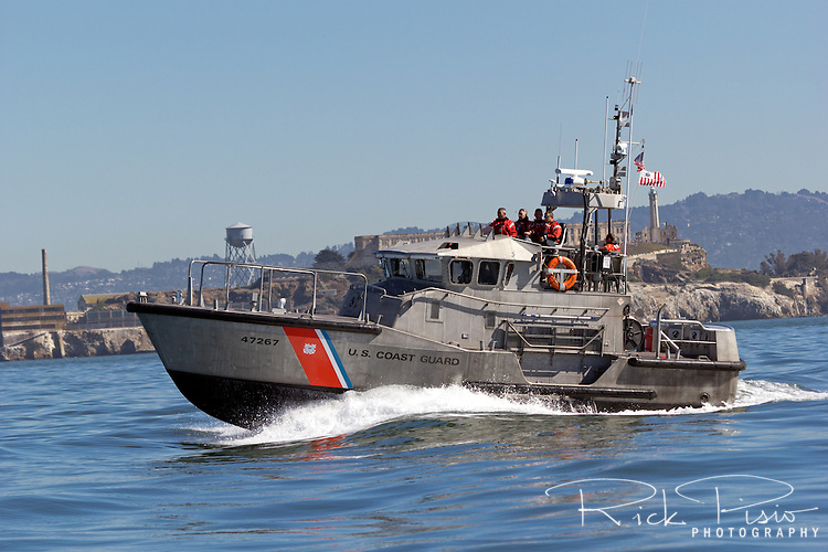 United States Coast Guard 47 foot Motor Lifeboat patrols the waters of San Francisco Bay The MLB is built to withstand the most severe conditions at sea and are self-bailing, self-righting, and almost unsinkable.