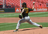 25th July 2020, St Louis, MO, USA;  Pittsburgh Pirates pitcher Trevor Williams (34) pitches during a Major League Baseball game between the Pittsburgh Pirates and the St. Louis Cardinals
