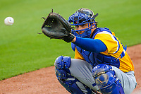Biloxi Shuckers catcher Jacob Nottingham (27) during a Southern League game against the Tennessee Smokies on May 25, 2017 at Smokies Stadium in Kodak, Tennessee.  Tennessee defeated Biloxi 10-4. (Brad Krause/Krause Sports Photography)