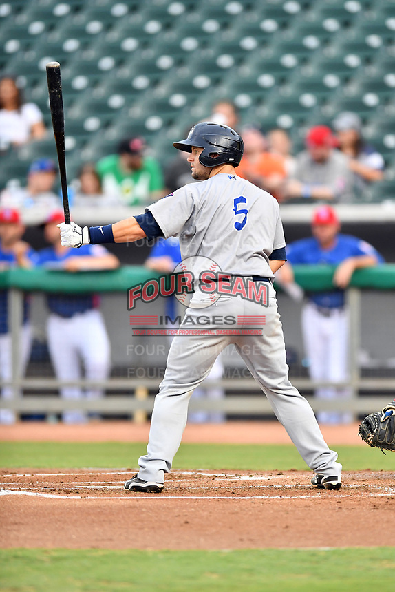 Pensacola Blue Wahoos catcher Chris Okey (5) awaits a pitch during a game against the Tennessee Smokies at Smokies Stadium on August 30, 2018 in Kodak, Tennessee. The Blue Wahoos defeated the Smokies 5-1. (Tony Farlow/Four Seam Images)