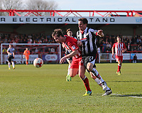 Mark Hughes of Accrington Stanley and Scott Vernon of Grimsby Town <br /> during the Sky Bet League 2 match between Accrington Stanley and Grimsby Town at the Fraser Eagle Stadium, Accrington, England on 25 March 2017. Photo by Tony  KIPAX / PRiME Media Images.