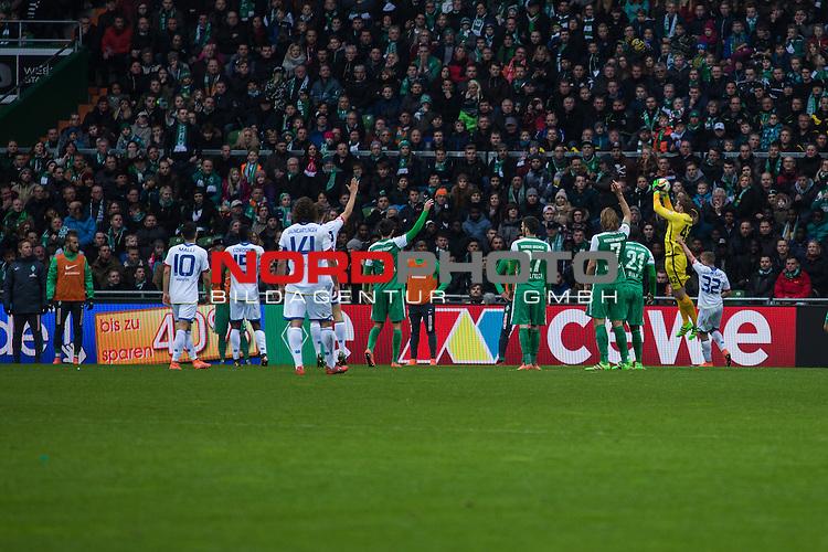 19.03.2016, Weser Stadion, Bremen, GER, 1.FBL. Werder Bremen vs Mainz 05, im Bild Pablo de Blasis (Mainz 05 #32) Anthony Ujah (Werder Bremen #21) Florian Grillitsch (Werder Bremen #27) Santiago Garc&iacute;a (Werder Bremen #2) Julian Baumgartlinger (Mainz 05 #14) Jhon Cordoba (Mainz 05 #15) Yunus Malli (Mainz 05 #10) <br /> <br /> <br /> <br /> Foto &copy; nordphoto / Woratschka