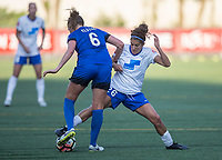 Seattle, WA - Saturday July 15, 2017: Lindsay Elston, Angela Salem during a regular season National Women's Soccer League (NWSL) match between the Seattle Reign FC and the Boston Breakers at Memorial Stadium.