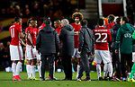 Manchester United manager Jose Mourinho gives a team talk during extra time during the UEFA Europa League Quarter Final 2nd Leg match at Old Trafford, Manchester. Picture date: April 20th, 2017. Pic credit should read: Matt McNulty/Sportimage